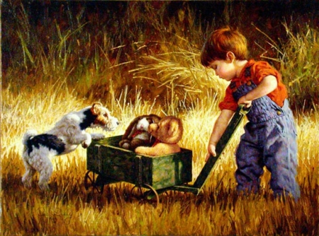 Curious Encounter - boy, painting, cart, artwork, dog