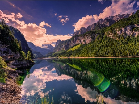 Reflecting Mountains - forest, mountains, nature, reflection, trees, clouds, lake, landscape