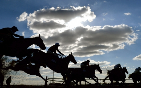 Horse racing - cloud, horse racing, black, man, sky, silhouette, animal, summer, blue