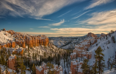 Late Winter Canyons - landscape, snow, sky, clouds, mountains