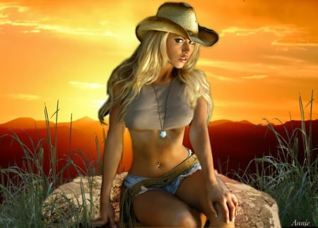 Cowgirl in The Sunset