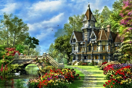 Victorian Villa - house, stairs, swan, artwork, countryside, bridge, painting, flowers, garden, river