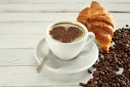 Coffee and Croissants - delicious, food, drinks, beans, sweet, bakery, coffee, drink, croisant
