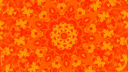 Optimally Orange - kaleidoscope, kaleidoscopes too1, embossed, lacey, orange, lace, bright