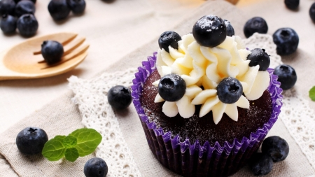 Blueberries & Chocolate - paper cup, spork, sweets, frosting, tablecloth, yum, dessert, purple, blueberry, mint leaf, blue