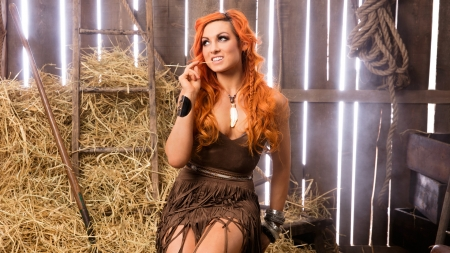 Cowgirl~Becky Lynch - cowgirl, redhead, Rebecca Quin, ladder, Irish, pitchfork, rope, hay, ropes, barn, WWE, wrestler, crates, Becky Lynch, wood