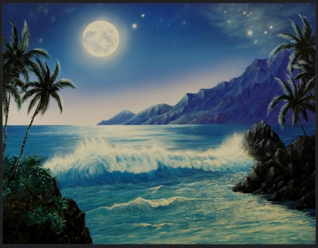 MAGIC MOMENT - MOON, WAVES, STARS, OCEAN, SKY, NIGHT, MOUNTAINS