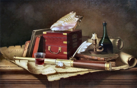 Terra Incognito FC - art, books, quill pen, bottle, box, beautiful, artwork, still life, shell, painting, wide screen, telescope