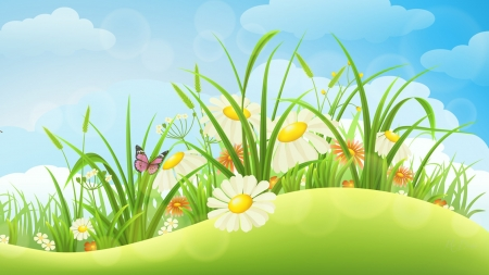 Spring Folly - daisies, grass, chamomile, spring, butterflies, clouds, field