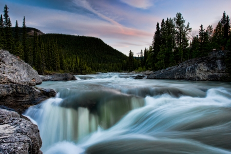 Elbow Falls, Kananaskis, Alberta - canada, landscape, clouds, river, tree