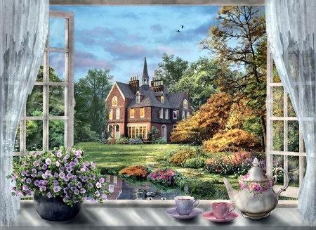 A Cup of Tea F2Cmp - architecture, art, beautiful, artwork, through the window, brick house, painting, wide screen, scenery, landscape