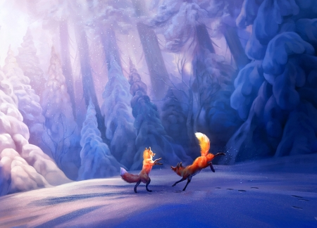 Playful foxes - forest, art, luminos, orange, playful, animal, winter, tree, fox, snow, white, couple, blue, therese larsson