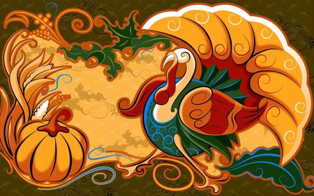 Turkey - turkey, abstract, pumpkin