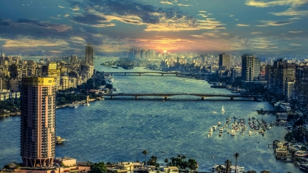 nile river panorama of cairo hdr - city, bridges, paorama, river, hdr, sunset