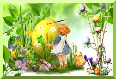 Easter preparations - little, holidays, colored, vegetation, flowers, other, brushes, paint, colors, spring, creative, abstract, Easter, girl, plants, eggs, bunnies, preparations, chicks
