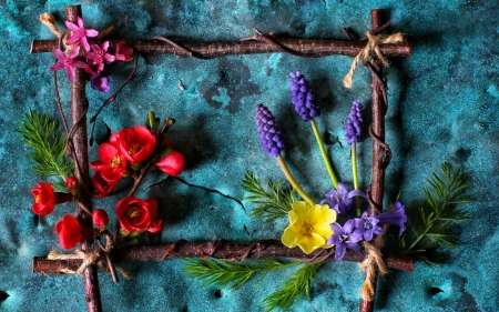 Spring - red, purple, frame, flower, yellow, pink, wood, blue