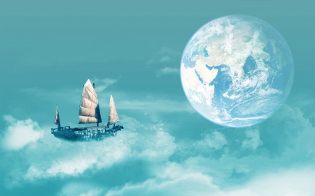Fantasy - cloud, luna, luminos, sky, fantasy, moon, ship, white, blue