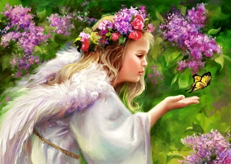 Little Angel - pretty, Flowers, Angel, Fantasy