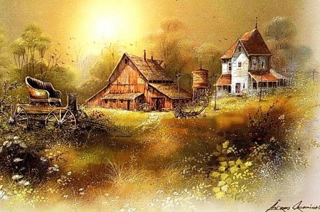 Old Farm - house, painting, cart, artwork, barn