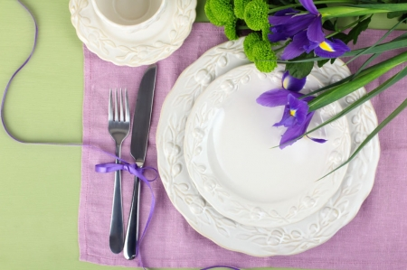 ♥ - flowers, purple, abstract, cutlery