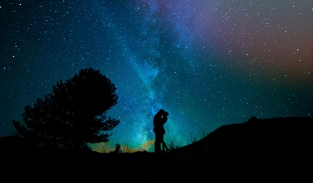 Lovers - lovers, stars, silhouette, night
