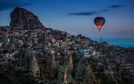 Hot air balloon over Uçhisar in Cappadocia Turkey - over, balloon, air, Unchisar, Hot, Turkey, in, Cappadocia