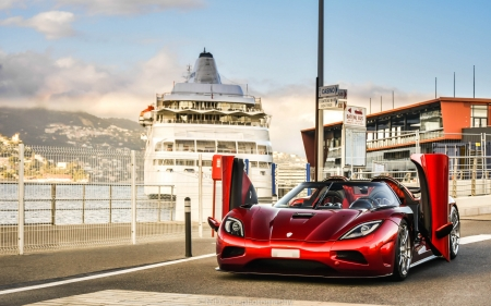 Red Koenigsegg Agera R - red, ferry, koenegsegg, car