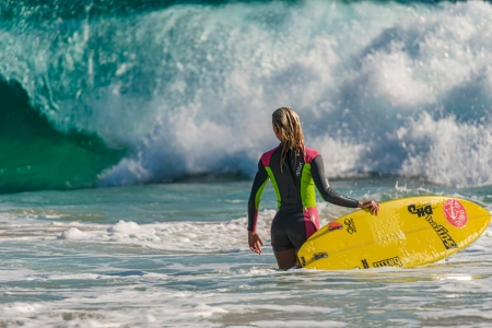 Surfer Babe - babe, sport, water, ocean, surf, nature, woman, surfing