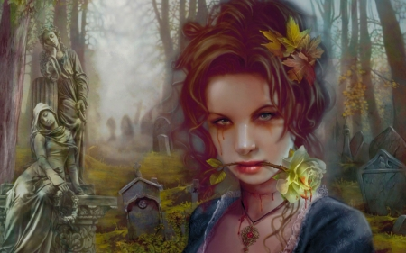 Gothic Beauty - pretty, art, female, rose, beautiful, woman, grave, fantasy, girl, gothic, digital