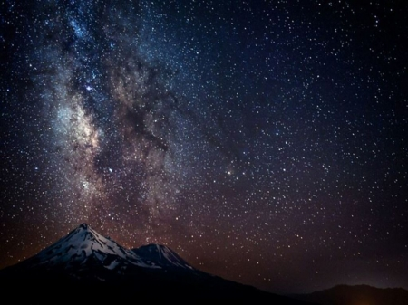 Milky way over mountain - Stars, Mountain, Night, Milky way