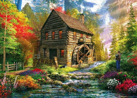 Mill Cottage - riverartwork, house, plants, painting, flowers, river
