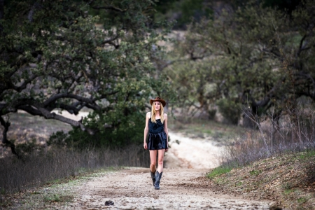 ~Cowgirl~ - dirt road, dress, cowgirl, boots, blonde, trees, hat, dirt, weeds, road, branches, hill