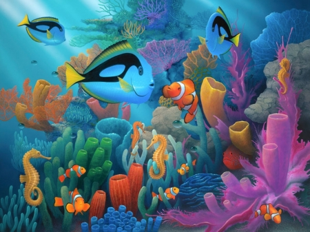 Under The Sea - fish, colorful, Coral, reef