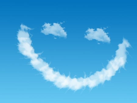 Smile - emoticon, cloud, smile, white, sky, zambet, blue