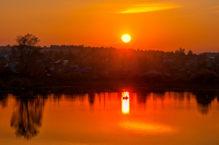 Reflection of the Sun in Water - Orange sky, Nature, River, Sunset
