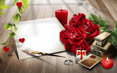 Romantic moment - photo, red, romantic, roses, abstract, candles, pen, moment, love, flowers, wedding rings, small box, other, letter