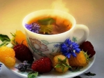 Tea and fruits