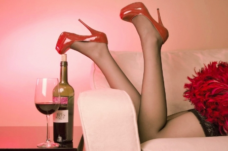 Friday Nights - red, photograph, legs, wine, celebration, digital art, abstract, sexy, pinks