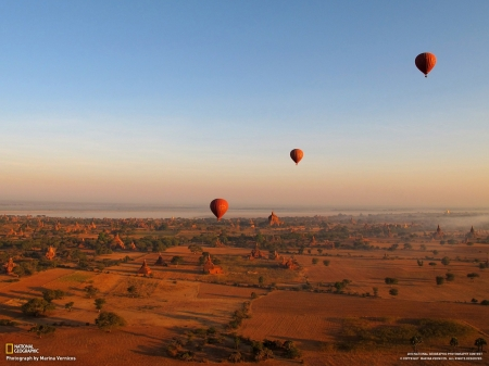 Hot Air Balloons - Hot Air Balloons, National Geographic, nature, transportation, landscape