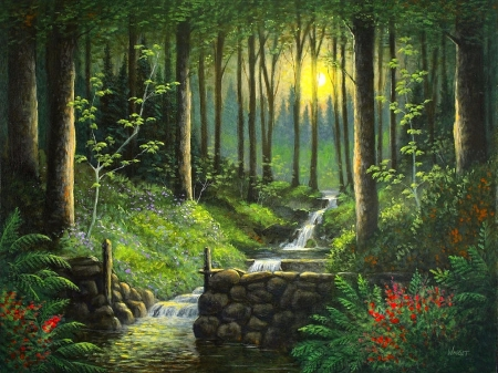 Peaceful Brook - draw and paint, love four seasons, spring, attractions in dreams, trees, paintings, flowers, nature, forests, streams