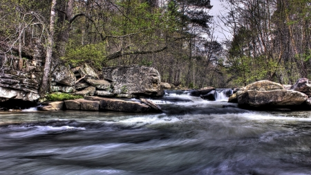 rocky rapids in a forest stream hdr - forest, stream, rocks, rapids, hdr