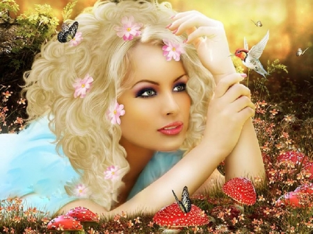 Beauty and Hummingbird - pretty, art, beautiful, hummingbird, woman, mood, fantasy, girl, people, digital