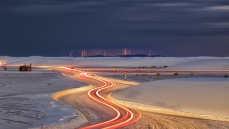 lightning on a winter night - winter, night, lights, road, lightning