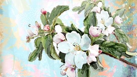 Spring Blossoms Watercolor - sakura, paint, fragrant, spring, apple blossoms, cherry blossoms, summer, flowers, blooms, Firefox Persona theme, watercolor