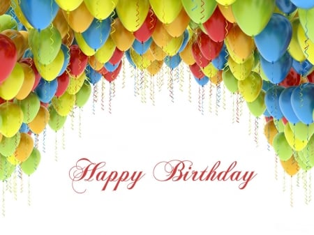 Happy Birthday! - red, colorful, yellow, rainbow, birthday, card, balloon, green, white, blue