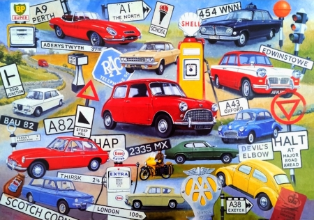 On The Road Again - cars, petrol pump, motorbikes, signs, AA, collage, road, vintage