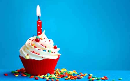 Happy Birthday! - red, candle, candy, colorful, food, birthday, sweet, dessert, cupcake, cream, blue