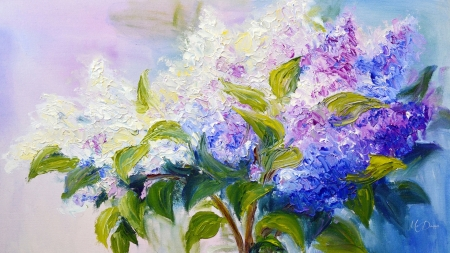 Painted Lilac Bouquet - fragrant, painting, summer, flowers, spring, lilacs, light, floral