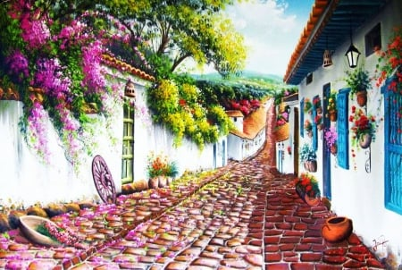 Village Street - pots, plants, houses, painting, cobblestone, flowers, artwork