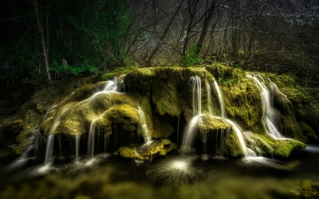 Forest Waterfall - mossy rocks, forest, waterfall, trees, nature